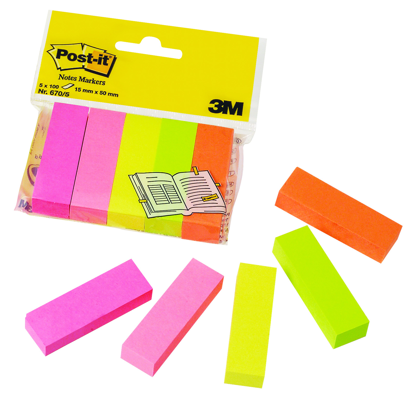 index autoadeziv 15 x 50mm 100 file/culoare 5 culori/set post-it 670-5