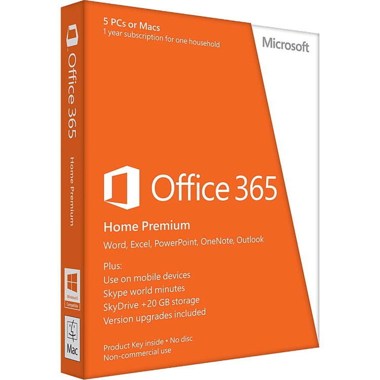 MICROSOFT OFFICE 365 Home 32/64-bit 1 an 5 PC Engleza Medialess