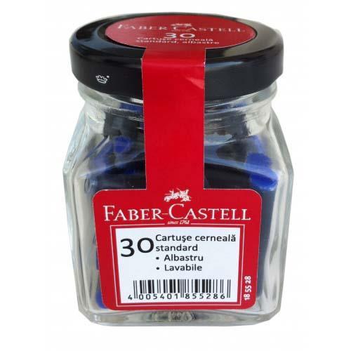 Cartuse cu cerneala mici albastru 30buc/borcan FABER CASTELL