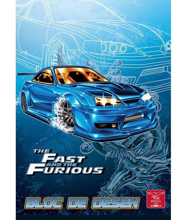 Bloc de desen A4 160 g/mp 16 file PIGNA Premium Fast & Furious