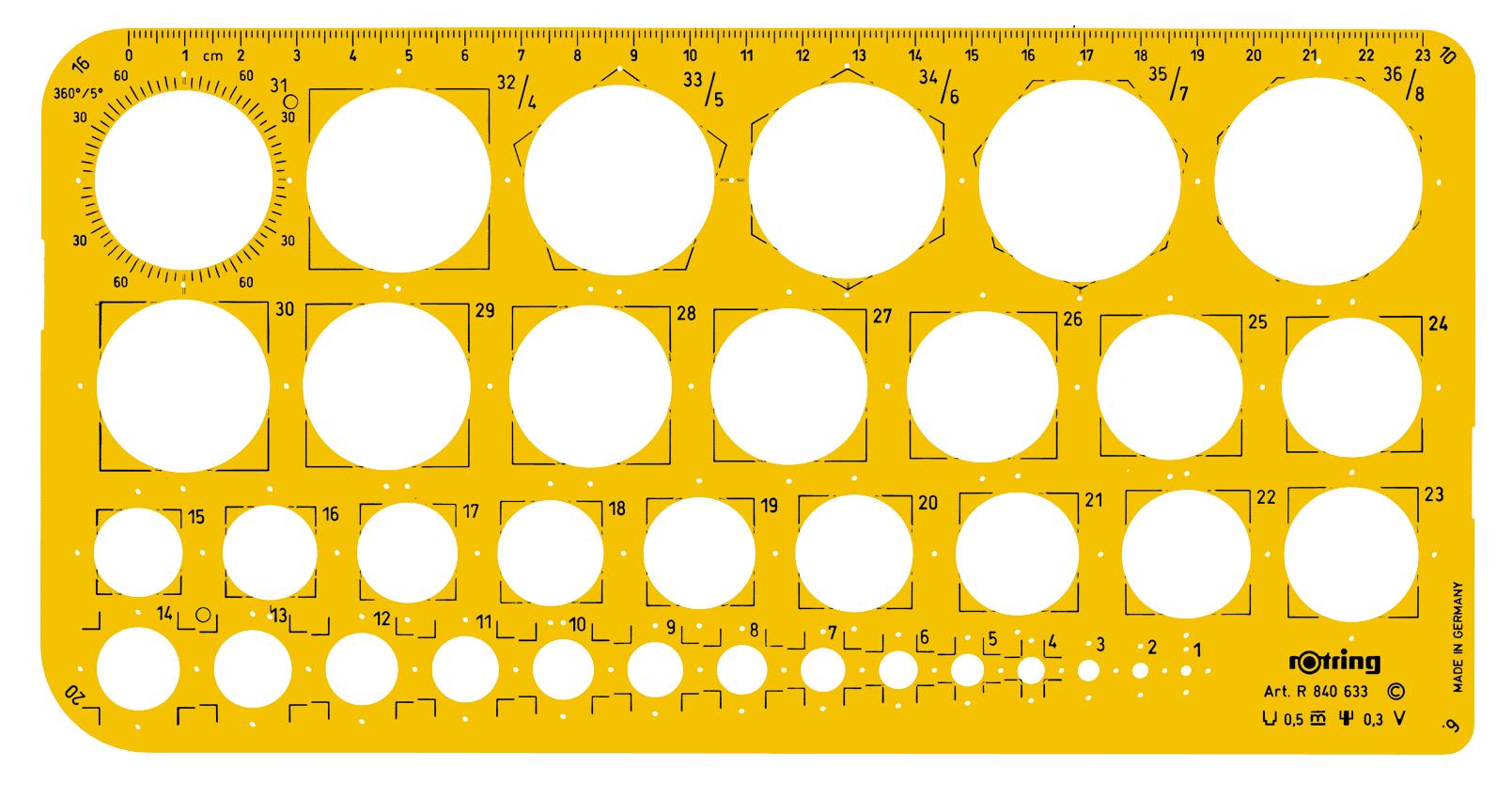 Sablon pentru cercuri 1-36mm ROTRING