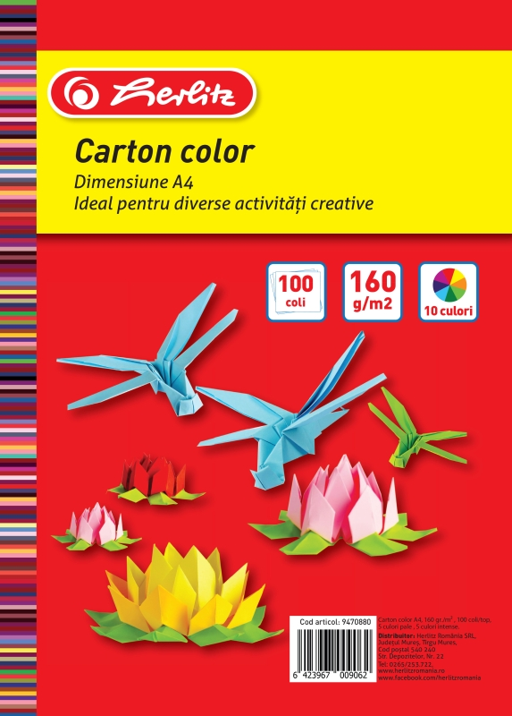 Carton colorat A4 160 g/mp diverse culori 100 coli/top HERLITZ