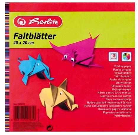 Hartie pentru origami 20 x 20cm 60 g/mp 100 coli/set HERLITZ