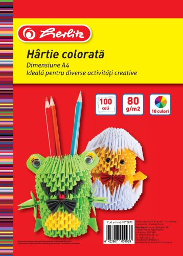 Hartie colorata A4 80 g/mp diverse culori 100 coli/top HERLITZ