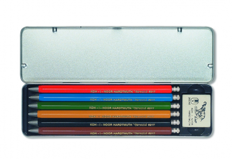 Set 6 creioane mecanice metalice + radiera 2mm KOH-I-NOOR Versatil