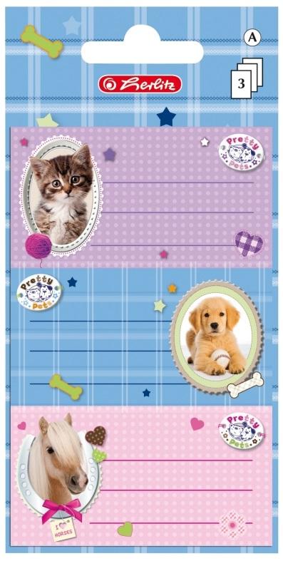 Etichete scolare 3 x 3 coli/set HERLITZ Pretty Pets Pisica/Caine/Cal
