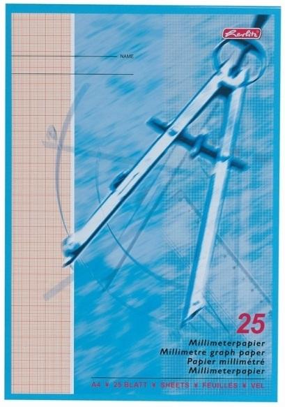 Hartie milimetrica A4 80 g/mp 25 file HERLITZ