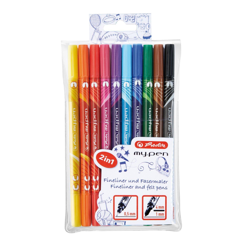Carioci + finelinere 10 culori/set HERLITZ My.Pen