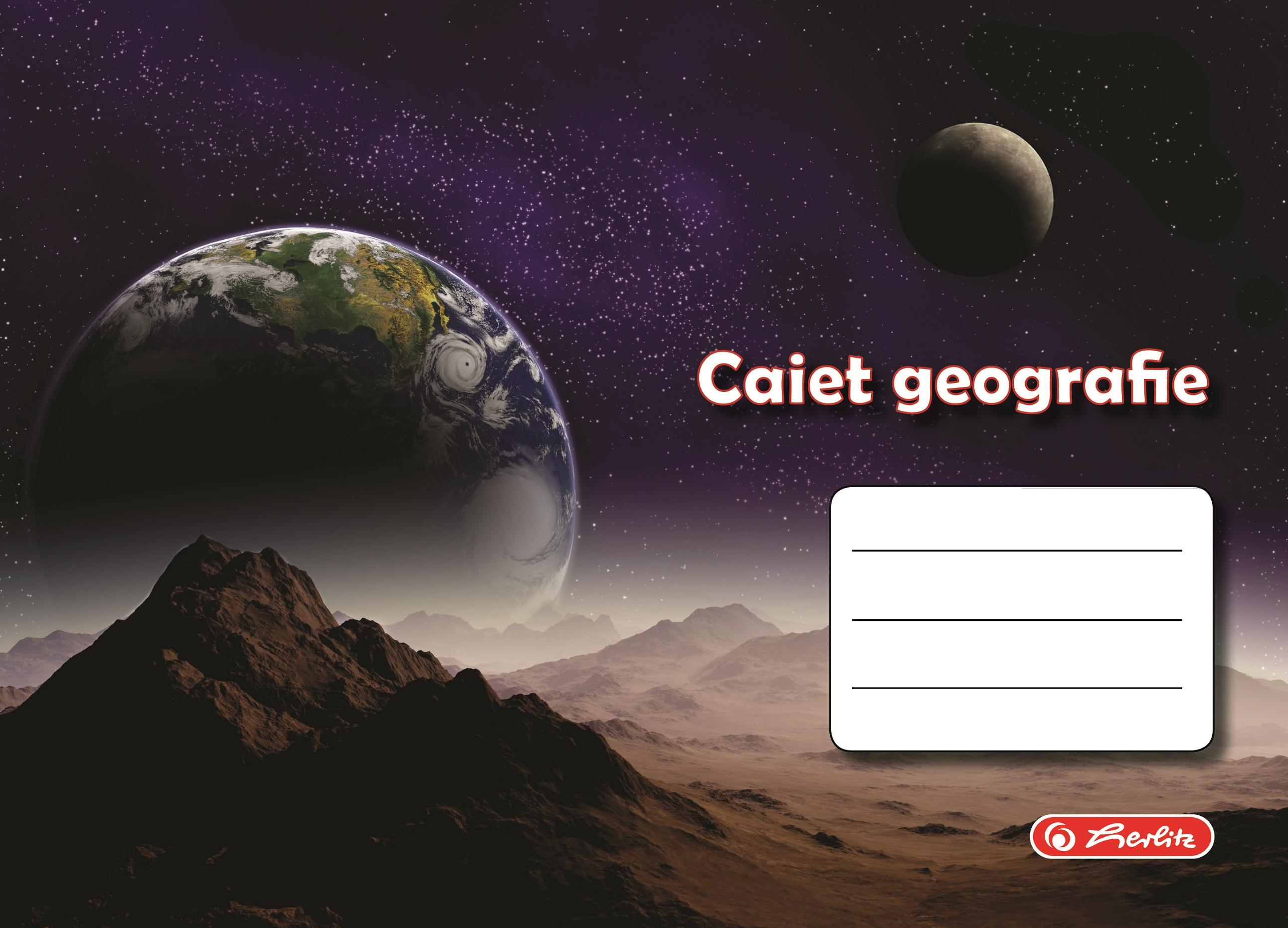 Caiet pentru geografie 17 x 24cm 24 file HERLITZ ROCK YOUR SCHOOL