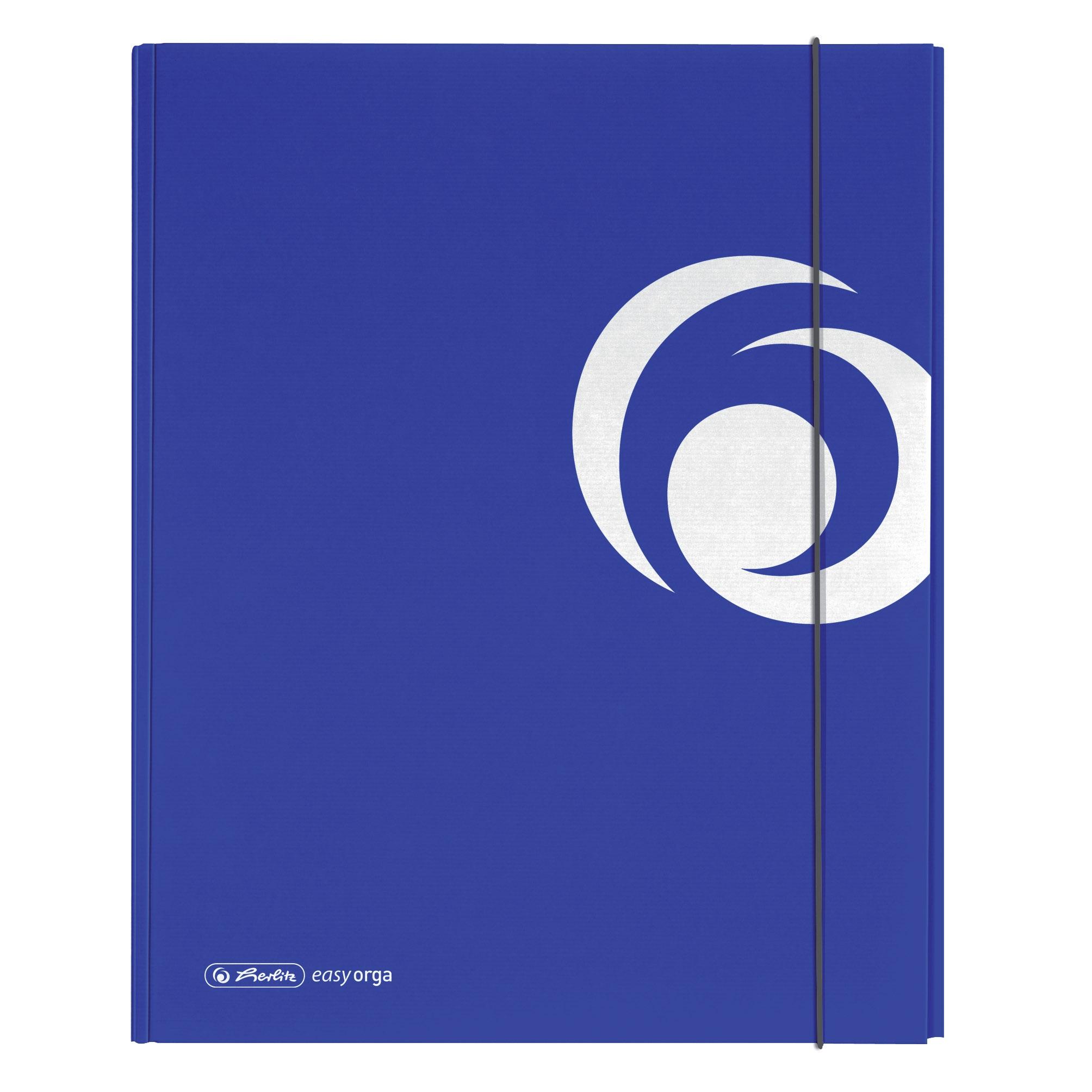 Dosar mapa carton lucios A4 XL inchidere cu elastic albastru intens HERLITZ
