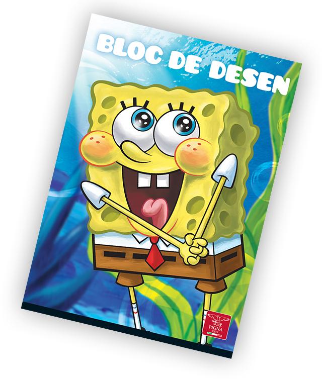 Bloc de desen A4 160 g/mp 16 file PIGNA Premium Sponge Bob