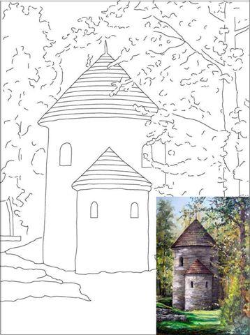 Set panza predesenata inramata 30x40cm include pensula si paleta de plastic KOH-I-NOOR Casa din padure