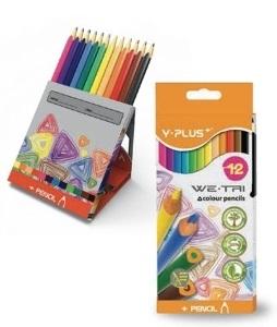 Creioane colorate cutie tip suport 12 culori/set PIGNA Y-Plus+