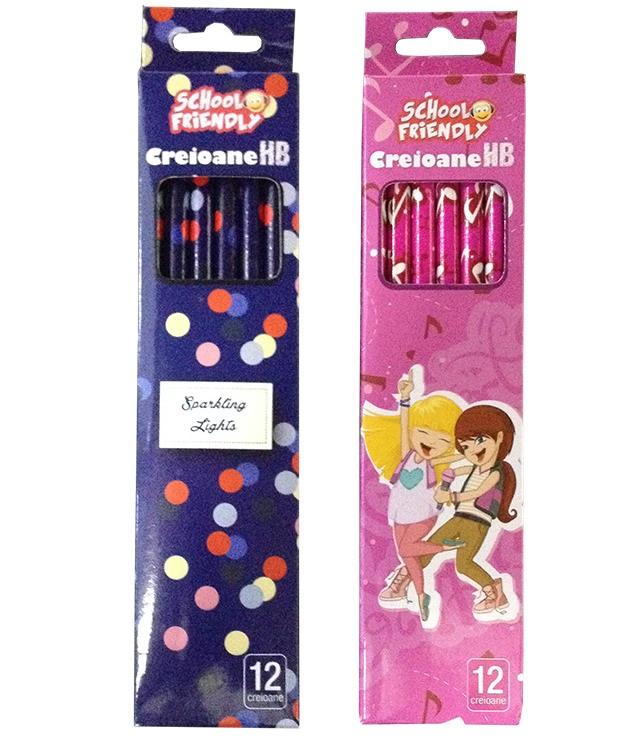 Creion cu mina grafit HB cu radiera 12 buc/set fete PIGNA School Friendly