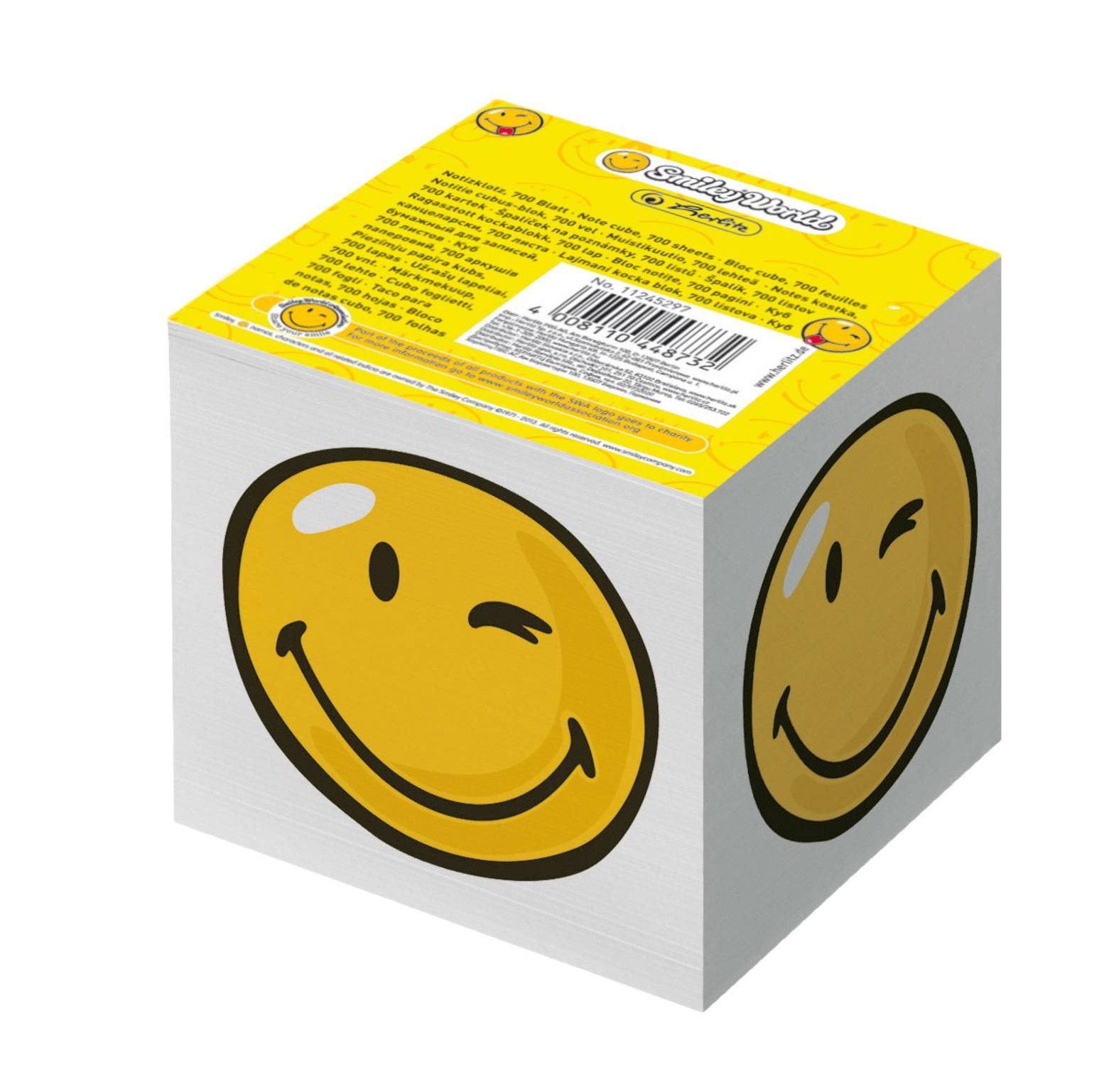 Cub din hartie alb 9 x 9cm 80 g/mp 700 file/set HERLITZ Smiley