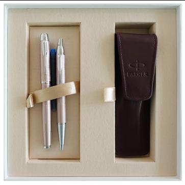 Set stilou + pix + etui in cutie, roz metalic, cu accesorii cromate, Metallic Pink, PARKER I.M. Premium