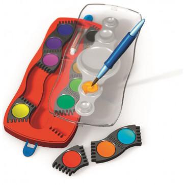 Acuarele + pensula, 12 culori/set, FABER CASTELL Connector