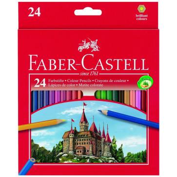 Creioane colorate + ascutitoare, 24 culori/set, FABER CASTELL Eco