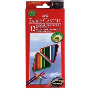 Creioane colorate triunghiulare + ascutitoare, 12 culori/set, FABER CASTELL Eco