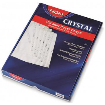 File din plastic, A4, transparent cristal, 90 mic., 100 buc/set, NOKI