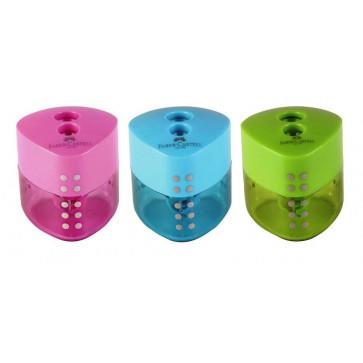 Ascutitoare din plastic dubla, diferite culori, FABER CASTELL Grip Pastel