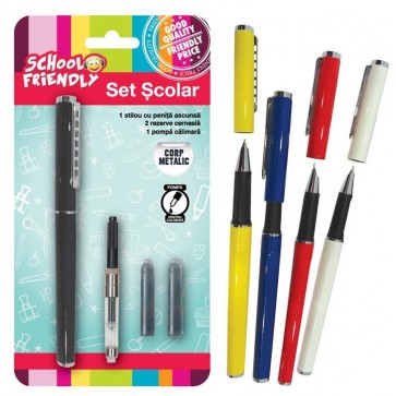 Stilou scolar basic + 2 rezerve si convertor, corp metalic, PIGNA School Friendly