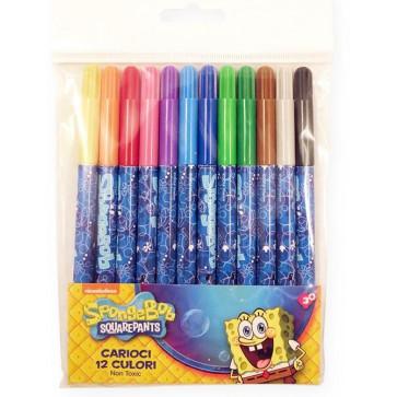 Carioci, 12 culori/set, PIGNA Sponge Bob