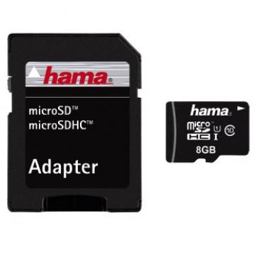Card, microSDHC, 8GB, class 10, +adaptor, HAMA