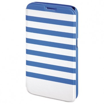 Husa Flip Cover pentru Samsung S6, HAMA Stripes Booklet, Blue/White