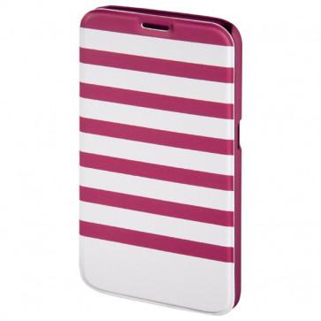 Husa Flip Cover pentru Samsung S6, HAMA Stripes Booklet, Magenta/White