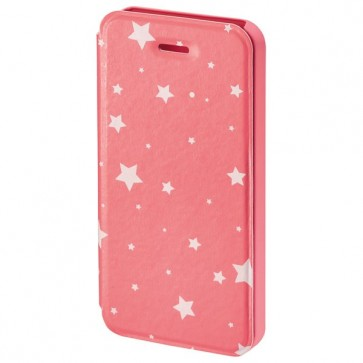 Husa Flip Cover pentru iPhone 5/5S, HAMA Luminous Stars Booklet, Pink/White
