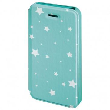 Husa Flip Cover pentru iPhone 5/5S, HAMA Luminous Stars Booklet, Mint/White