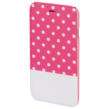Husa Flip Cover pentru iPhone 6/6S, HAMA Lovely Dots Booklet, Pink/White