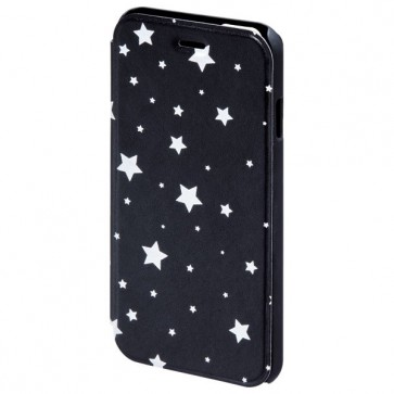 Husa Flip Cover pentru iPhone 6/6S, HAMA Luminous Stars Booklet, Black/White