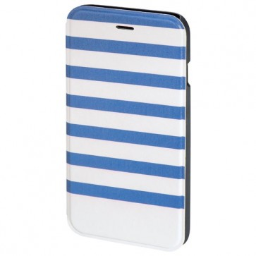 Husa Flip Cover pentru iPhone 6/6S, HAMA Stripes Booklet, Blue/White
