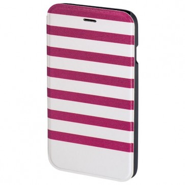 Husa Flip Cover pentru iPhone 6/6S, HAMA Stripes Booklet, Magenta/White