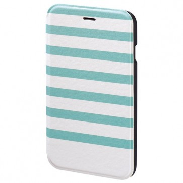 Husa Flip Cover pentru iPhone 6/6S, HAMA Stripes Booklet, Turquoise/White