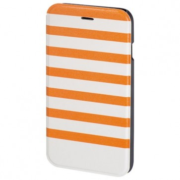 Husa Flip Cover pentru iPhone 6/6S, HAMA Stripes Booklet, Orange/White