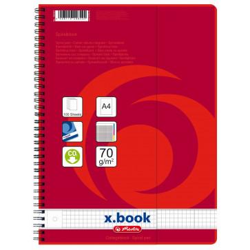 Caiet A4, matematica, cu spira, perforat, 100 file, HERLITZ  X.Book Repertoar