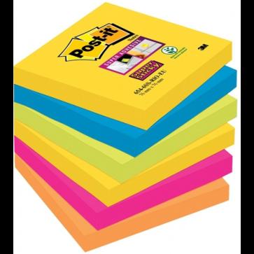 Notes autoadeziv, 76 x 76mm, 6 x 90 file/pachet, diferite culori Rio de Janeiro, POST-IT Super Sticky 654-6SS RIO