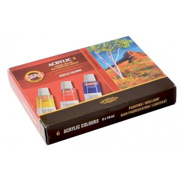 Culori acrilice, 6 culori/set, KOH-I-NOOR