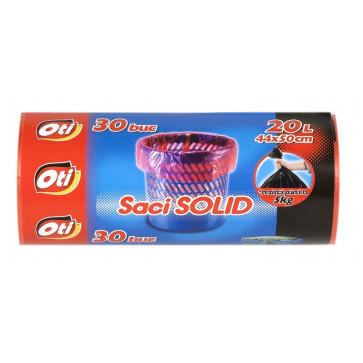 Saci menaj, 20L, 30 buc/rola, rosu, OTI Solid