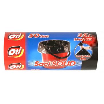 Saci menaj, 35L, 50 buc/rola, negru, OTI Solid