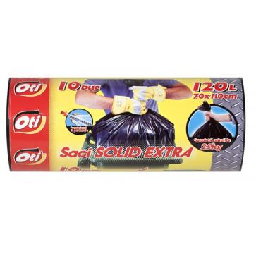 Saci menaj, 120L, 10 buc/rola, negru, OTI Solid Extra
