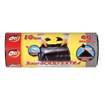 Saci menaj, 60L, 10 buc/rola, negru, OTI Solid Extra