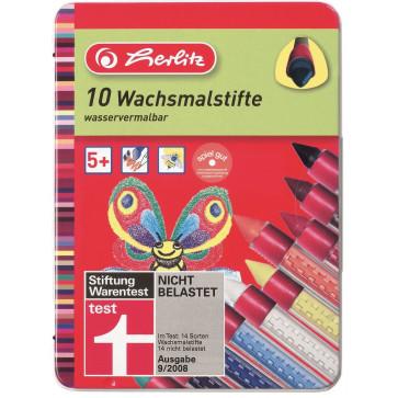 Creioane colorate, cerate, cutie metalica, 10 bucati/set, HERLITZ