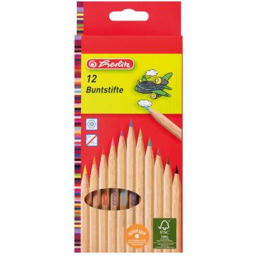 Creioane colorate, din lemn natur, 1/1, 12 culori/set, HERLITZ