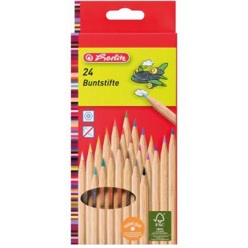 Creioane colorate, din lemn natur, 1/1, 24 culori/set, HERLITZ