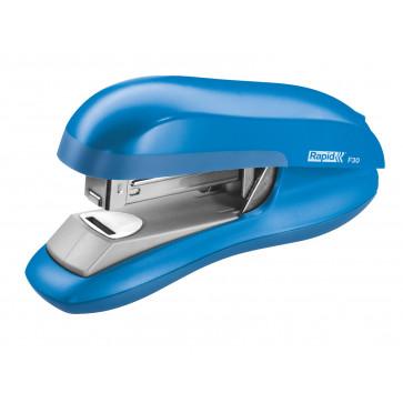 Capsator plastic de birou, pentru maxim 30 coli (capsare plata), capse 24/6, albastru deschis, RAPID F30