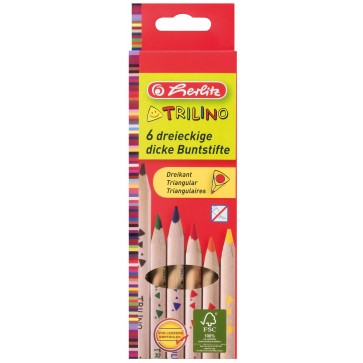 Creioane colorate, forma triunghiulara, 1/1, 6 culori/set, HERLITZ TRILINO